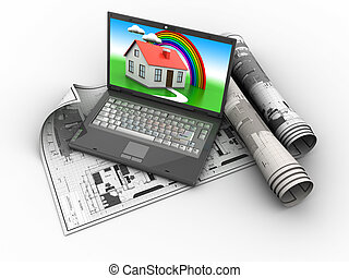 planning house - 3d illustration of house blueprints and...