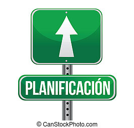 Planning in Spanish road sign