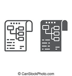 Planning line and glyph icon, development and business, business plan sign vector graphics, a linear pattern on a white background, eps 10.