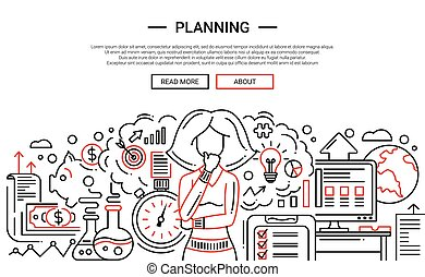 Planning - line design website banner temlate - Planning -...
