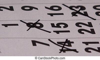 planning, maand, papier, teken, kalender, gebeurtenis, rood