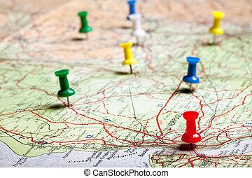 planning, met, pushpins