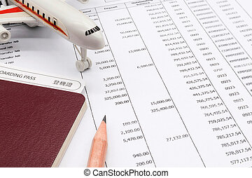 Planning monthly budget, Finance about Travel concept