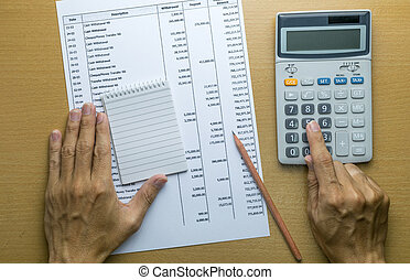 Planning monthly budget or account expenses