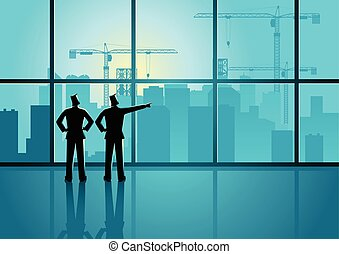Planning new project - Two men looking through window at big...