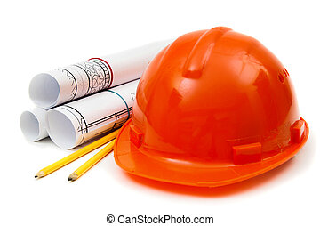 Drawings for building house, helmet and other working tools.
