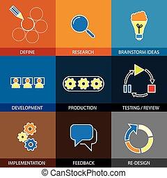 planning, plat, concept, lin, techniek, -, plan, vector,...