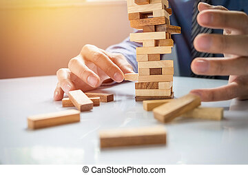 Planning, risk and strategy in business, businessman ...