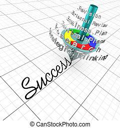 planning:, siker, ügy, összejövetel, áttekint, strategic ábra, kulcs, taktikai, tény