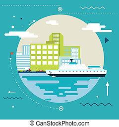 Planning Summer Vacation, Tourism and Journey Symbol Ocean Sea River Ship Travel Modern Flat Design Template Vector Illustration