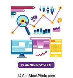 Planning system vector concept in flat style
