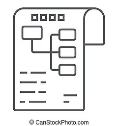 Planning thin line icon, development and business, business plan sign vector graphics, a linear pattern on a white background, eps 10.