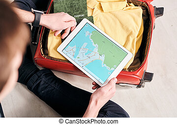 Planning tourists route in foreign country