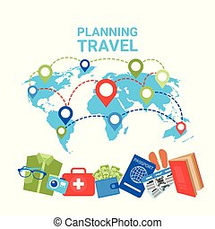 Travel checklist on map top view of colorful travel eps vector planning travel concept pointers on world map baggage items icons gumiabroncs Image collections