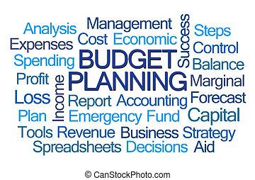 planning, woord, begroting, wolk
