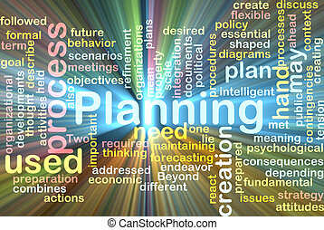 Planning word cloud glowing - Word cloud concept...