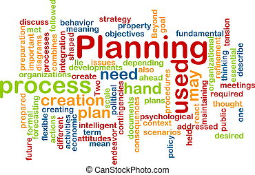 Planning word cloud - Word cloud concept illustration of...