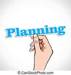 Planning Word sticker in Hand Stock Vector