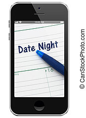 Planning your Date Night, A cell phone display with pen and a day planer with text Date Night