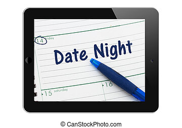 Planning your Date Night, A tablet display with pen and a day planer with text Date Night