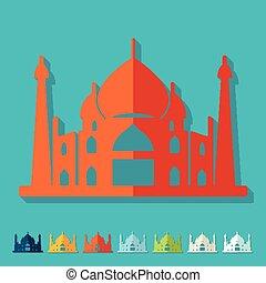 plano, árabe, palacio, design.