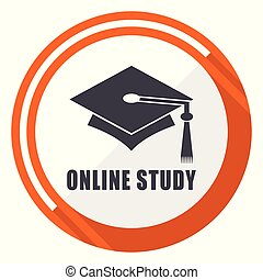 plano, 10, estudio, eps, en línea, vector, diseño, naranja, redondo, icono
