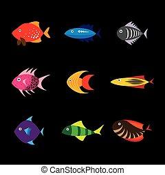 plano, 10, pez, eps, vector, icono, diseño, icono