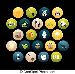 plano, 26, conjunto, iconos