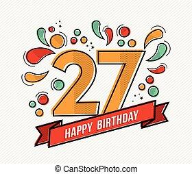 plano, 27, colorido, número, cumpleaños, diseño, línea, feliz