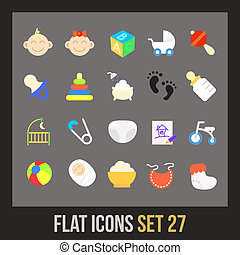 plano, 27, conjunto, iconos