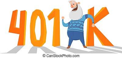 plano, acronym., coloreado, fron, cuenta, cartas, anciano, aislado, 401k, fondo., vector, pensión, blanco, hombre, feliz, retirement., illustration.
