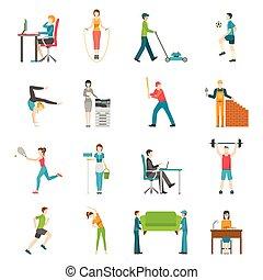 plano, actividad, físico, iconos