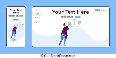 plano, adaptable, ui., reparación, pc, layout., plataforma, uno, sitio web, factótum, móvil, página web, página, template., diseño, página principal, vector, aterrizaje, servicios, hogar, color cruz, araña de luces, eléctrico, fijación
