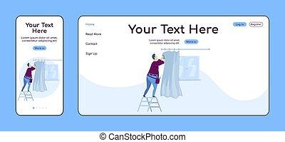 plano, adaptable, ui., reparación, reparador, cortinas, pc, layout., reparaciones, casa, plataforma, uno, sitio web, móvil, página web, ahorcadura, página, template., diseño, página principal, vector, aterrizaje, hombre, hogar, color cruz