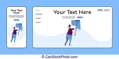 plano, adaptable, ui., reparador, pc, layout., reparaciones, plataforma, uno, construcción, sitio web, móvil, página web, página, template., diseño, página principal, vector, aterrizaje, hombre, hogar, cruz, pared, color, servicio, pintura