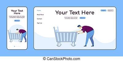 plano, adaptable, ui., reparador, pc, layout., reparaciones, plataforma, uno, sitio web, factótum, móvil, página web, página, cuna, padre, template., diseño, página principal, vector, aterrizaje, hogar, color cruz, fijación