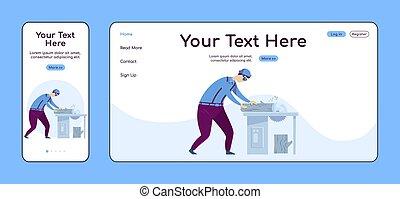 plano, adaptable, ui., sierra, circular, pc, reparador, layout., reparaciones, carpintería, trabajo, plataforma, uno, sitio web, móvil, página web, página, template., diseño, página principal, vector, aterrizaje, hogar, color cruz