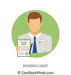 plano, agente de seguros, icono