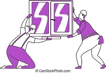plano, aislado, illustration., estilo, 2d, grupo, handymen, reparador, reparaciones, silueta, dibujo, carácter, ventana, instalación, contorno, simple, blanco, vector, vidrio., hogar, fondo.