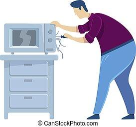 plano, aislado, oven., microwave., appliance., macho, reparación, reparaciones, character., caricatura, caucásico, handyworker, montar, vector, faceless, trabajador, ilustración, hombre, color de casa, tipo, eléctrico, fijación