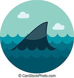 plano, aleta del tiburón, icono
