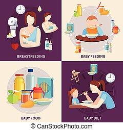 plano, alimentación, iconos, cuadrado, 4, bebé
