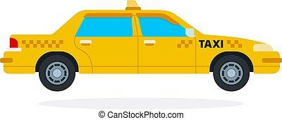plano, amarillo, aislado, vector, taxi