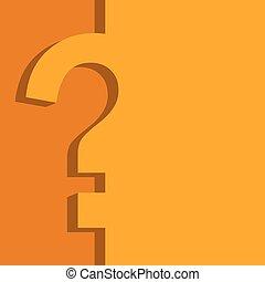 plano, amarillo, vector, diseño, naranja, cuestionario, template.