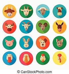 plano, animales, granja, largo, sombra, icono