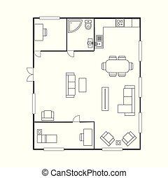 plano arquitetura, com, furniture., casa, plano chão