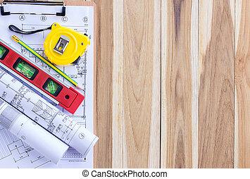 plano arquitetura, e, rolos, de, desenhos técnicos, com, jogo ferramenta