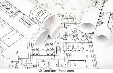 plano arquitetura, e, rolos, de, desenhos técnicos