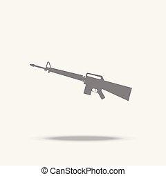 plano, asalto, vector, rifle, sombra, icono