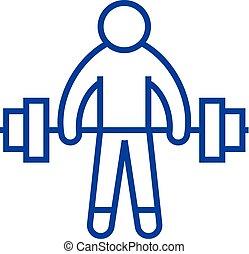 plano, atleta, contorno, icono, señal, concept., símbolo, vector, pesas, línea, fuerte, elevación, illustration.